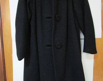 Vintage Martha West Vintage Black Wool, Real Fur Collar Coat