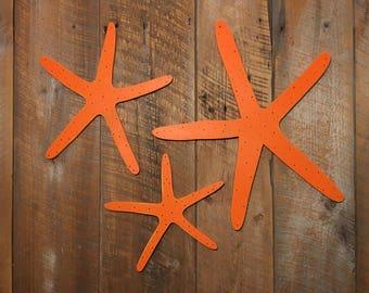 Wooden Starfish - Wall Art Indoor Ocean Beach Decoration SET OF 3