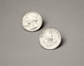 LUCKY MONEY- QUARTER Genuine Unique Coin Earrings Studs button Steam Punk U-Pick Avant Garde also avail in -Lucky Penny, Dime, Nickel