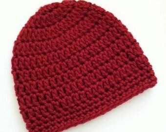 Red Beanie, Crochet Baby Hat, Newborn Hat, Baby Hat, Crochet Baby Beanie, Photo Prop
