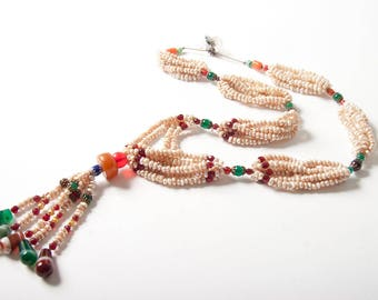 Stunning vintage Mauritanian seed pearl and amber necklace
