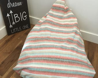 Coral and Blue Aztec Bean Bag Chair Cover