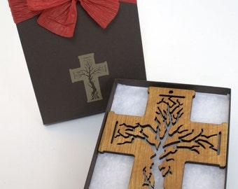 Tree of Life Large Wood Cross Ornament Gift Box Set