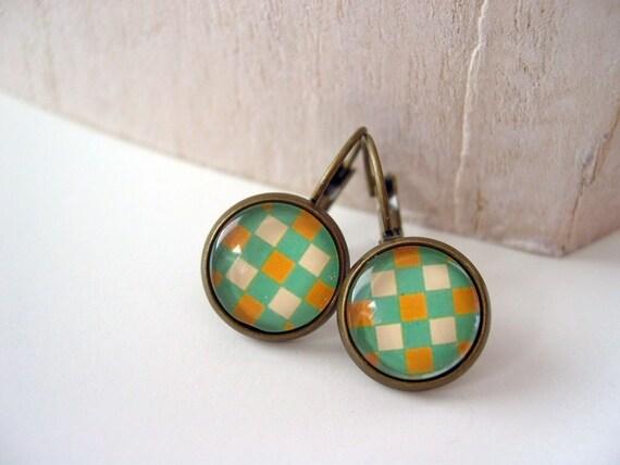 Pretty checkered   earrings sweet lolita feminine leverback