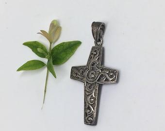 Vintage Cross Pendant - Sterling Silver - Scrollwork
