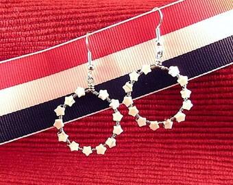 Betsy Ross Earrings - Thirteen Stars - Patriotic Hoops