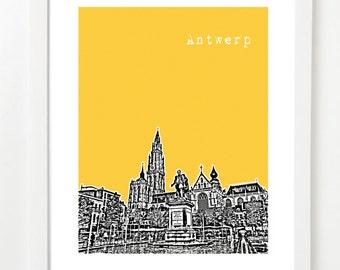 Antwerp Belgium  - Antwerp City Skyline Art Print - Antwerp Poster -