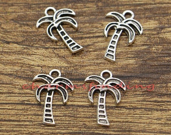 50pcs Palm Tree Charms Beach Charms Antique Silver Tone 13x18mm cf0031