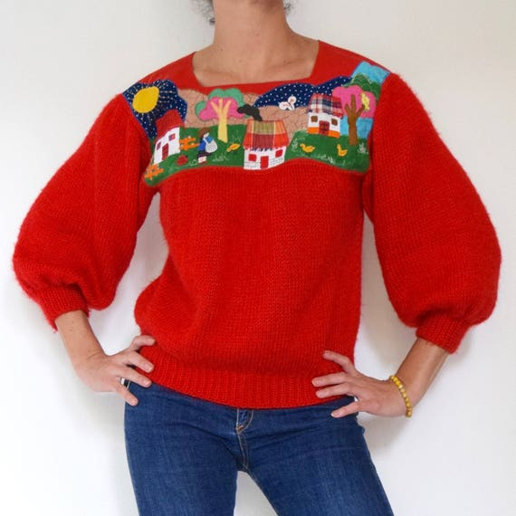 RESERVED Vintage 80s 90s Red Knit Pullover Sweater with Village Scene Appliqued Panel (size small, medium)