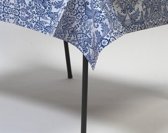 Square Blue Toile Oilcloth Tablecloth or Splat Mat