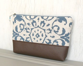 Zipper Pouch, Large Cosmetic Bag, Zippered Makeup Bag - Amelie Medallion in Brown, Cream and Denim Blue
