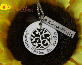 Spanish Teacher -  Maestras - ESL Teacher - Spanish Necklace - Spanish Teacher Gift - ESL Teacher Gift - Handstamped Necklace