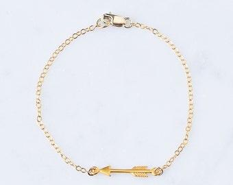 Small Arrow Bracelet, Gold Arrow Bracelet, Silver Arrow Bracelet, Dainty Arrow Bracelet, Gold or Silver