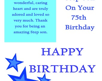 Step Son 75 Birthday Card with removable laminate