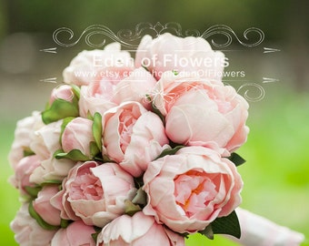 Pink Peony Bridal Bouquet Silk Artificial Peony Flower Bouquet, bridal bouquets, bridesmaid bouquets
