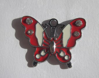 meta and rhinestones 2 cm - (65) - Butterfly shape charm