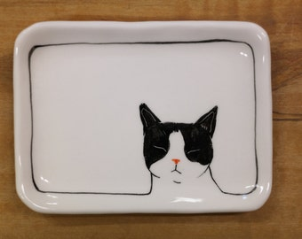 Hand made & animal painted  Versatile dish - Soap Dish - Jewelry Dish - Ceramic Dish - Cat Dish