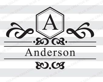 Mailbox Letter Name Monogram Frame SVG png pdf / front door decal art / Cricut, Silhouette / diy vinyl lettering / HTV vinyl file /