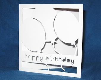 Birthday Balloons Card, Happy Birthday, Hand Cut Card