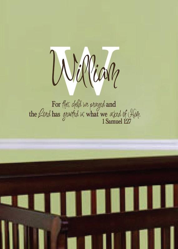 1 Samuel 1:27 For this child we prayed Monogram Personalized