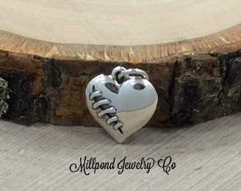 Heart Charm, Mended Heart Charm, Broken Heart Charm, Sterling Silver Heart Charm, PS01471