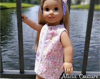 18 inch Doll Clothes, Doll Dress and Headband, 18 inch A-line Dress, Doll Summer Dress