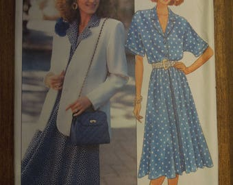 Butterick 3619, sizes 14-18, misses, petite, unlined jacket, dress, UNCUT sewing pattern, craft supplies