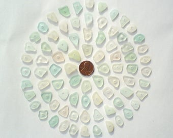 80 center drilled Genuine surf tumbled sea beach glass for jewelry 12-17 mm in length