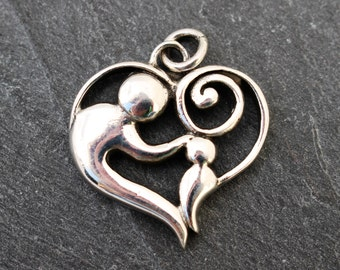 Mother and Child Heart Pendant -  Sterling Silver