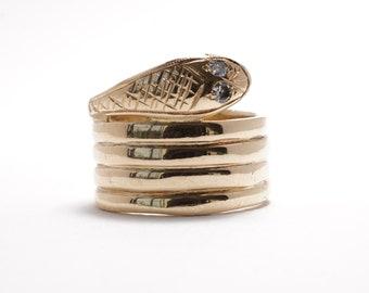 Vintage Snake Ring | Diamond | 14k Yellow Gold | Serpent Ring | Size 6.5 | Item 94818