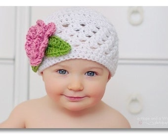 Baby Girl Crochet Beanie Hat with Flower, Crochet Baby Hat, Toddler Hat, White, Pink,  Baby Girl Hat, Crochet Hat, Baby Girl, MADE TO ORDER