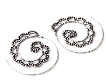 White Brass Big Dotted Design Spiral Earrings Tribal Earrings Mandala Jewellery Free UK Delivery Gift Boxed WB24