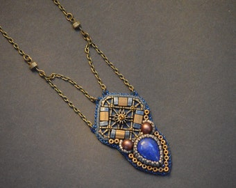 Lapis Lazuli Bead Embroidery Necklace, Beaded Pendant