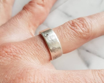 Personalized laser engraved script ring in sterling silver with diamond