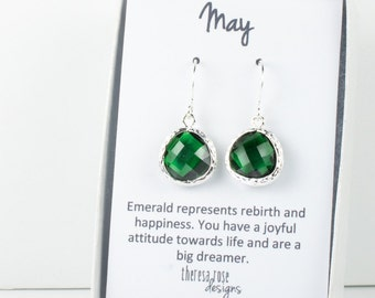 May Birthstone Emerald Silver Earrings, Emerald Silver Dangle Earrings, Silver Earrings, May Birthday Gift, Bridal Earrings [#794]