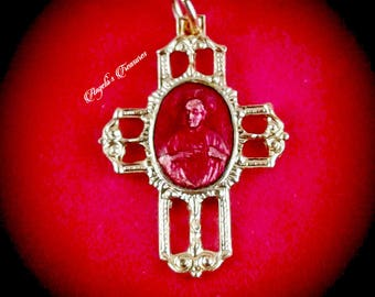 Vintage Sacred Heart of Jesus Red Enamel Cross, medalla catolica, sagrado corazon de jesus