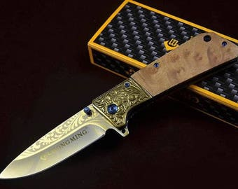 Knife Folding Pocket CHONGMING blade steel 9.5 cm engraved Laser handle 12 cm