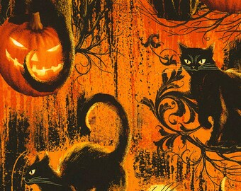 Black Cats Fabric; C5846; You Choose Size; Timeless Treasures; Wicked Hot; Orange, Black; Cat Fabric; Halloween Fabric; Jack O Lantern; Bat