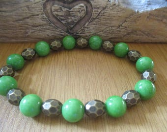 Green Agate and Bronze Faceted Hematite Bracelet