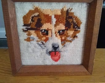dog picture, crewel embroidered