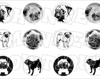 Pug puppy dog bottlecap image sheet