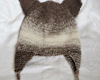 Hand Knit Wolf Ear Hat - Soft Cozy - Cream Brown Ombre - Fox Ears