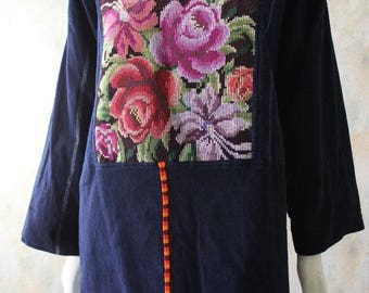 Vtg 70s NEEDLEPOINT Hand Stitched Hippie Boho Tapestry Tunic Top M/L