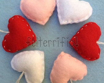 1 dozen Handmade Mini Felt Heart Ornaments
