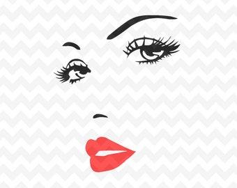 Woman face svg, Eyelashes Svg file, Eyebrows SVG Instant Download Woman Eyelashes SVG and PNG file, Makeup svg