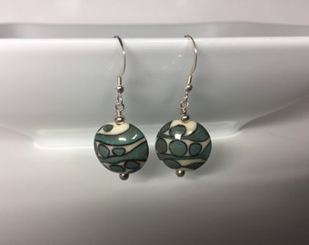 Ivory and Copper green Lampwork Earrings