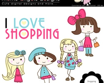 Shopping Girl Cliparts - COMMERCIAL USE OK