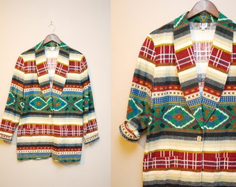 Vintage Southwestern Blazer / 90s Tribal Print Cotton Jacket / Medium