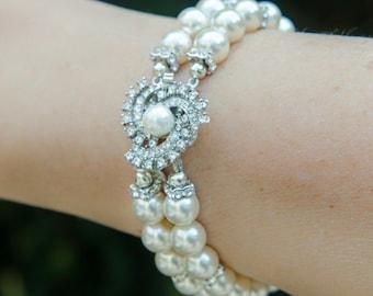 Rhinestone and Pearl Bridal Bracelet Statement Pearl Bridal Cuff 2 Strand w/ Swarovski® Pearls and Crystals, Wedding Jewelry