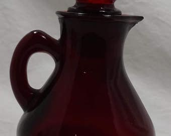 Vintage Ruby Glass Bottle AVON with Strawberry Bath Foam - (Empty) -  Collectible - Great Condition